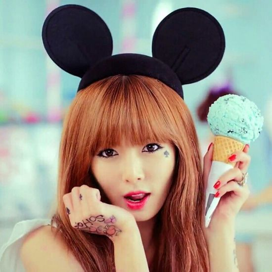 Kim hyuna! I love her! Kim  Hyuna Singer  Cute hot girl pretty beautiful instapic instalover instalikes mickeymouseears icecream
