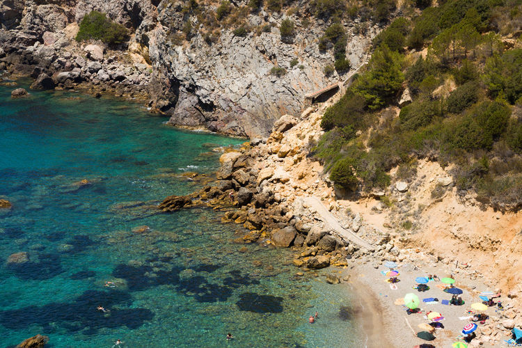 Bay in Monte Argentario in Tuscany, Italy Diving Snorkeling Tuscany Beach Beauty In Nature Clear Water Day High Angle View Italy Leisure Activity Monte Argentario Nature Outdoors Rock - Object Sand Sandy Scenics Sea Sky Sport Summer Tranquility Water