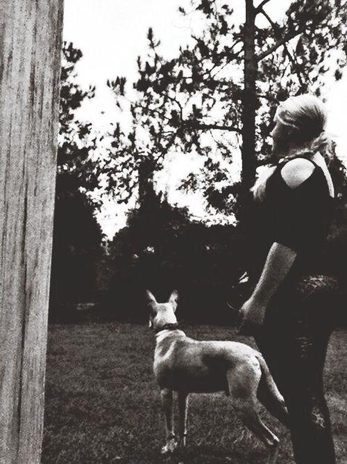me & biskit (: Beautiful Dog Girl Blackandwhite