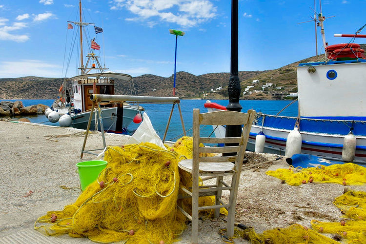 Yellow net Yellow Net Amorgos Beach Day Fishing Fishing Boat Fishing Industry Fishing Net Greece Harbor Land Mode Of Transportation Mountain Nature Nautical Vessel No People Outdoors Sailboat Sea Sky Transportation Water Yellow Yellow Color