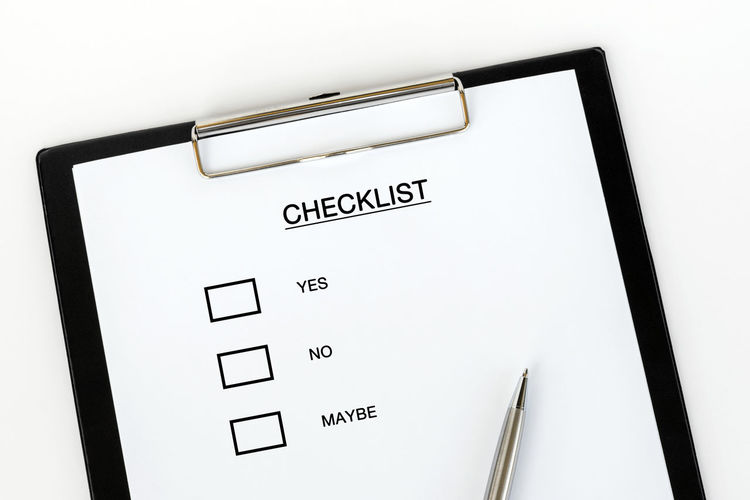 Checklist Clipboard Evaluation Form Appraisal Quality Control Yes Maybe Form Western Script White Color White Background Copy Space Corporate Business Message List Rating Checkbox Analyzing