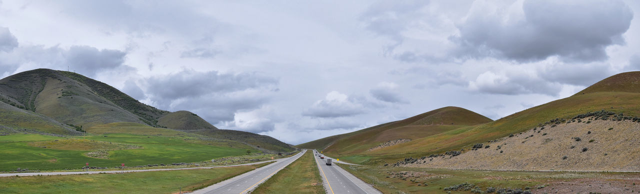 Panoramic view of country road against sky
