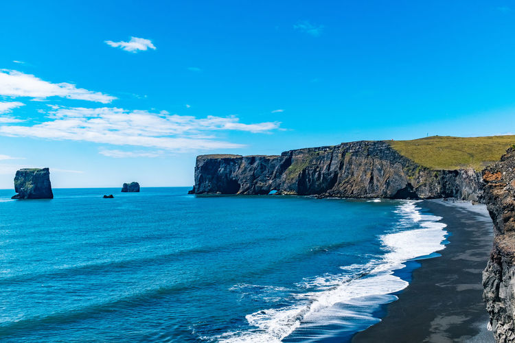 Beauty In Nature Blue Cliff Day Horizon Over Water Iceland Nature No People Outdoors Rock - Object Scenics Sea Sky Tranquil Scene Tranquility Water