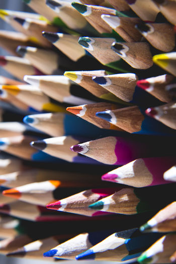 Bunch Of Pencils Abundance Arrangement Art And Craft Art And Craft Equipment Choice Close-up Colored Pencil Colorful Coloured Craft Creativity Full Frame High Angle View Indoors  Large Group Of Objects Multi Colored No People Pencil Selective Focus Still Life Variation Variety Wood - Material Writing Instrument