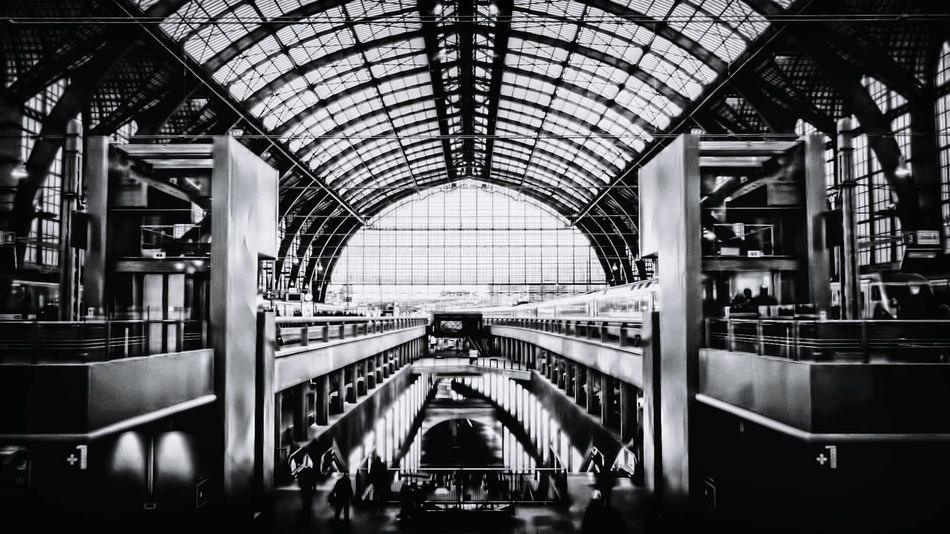 Train Station Antwerp, Belgium Antwerpen Centraal Station Antwerp Blackandwhite Black And White Black & White Blackandwhite Photography