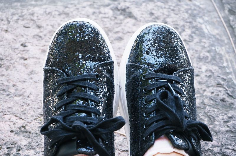 Shoe Black Color Personal Perspective Human Leg Pair Human Foot Lifestyles Shoelace Leisure Activity Human Body Part Body Part Glitter Fashion Shoe Sneakers Backgrounds Shopping