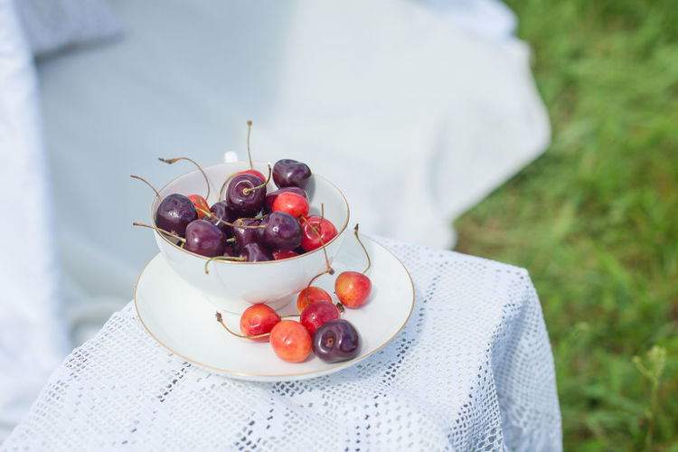 High Angle View Of Fruits Served In Plate