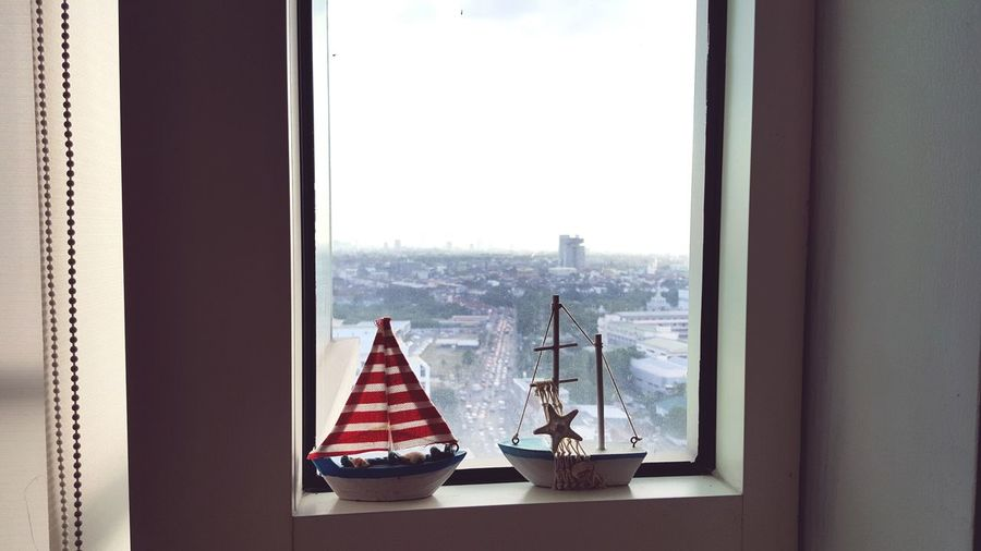 Model Window Alone Condominium Indoors  Sky Day Boat Toy Lonely