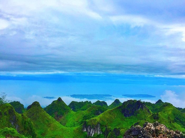 Cloud - Sky Beauty In Nature Scenics Sky Nature Outdoors Landscape Day Green Color Tree Blue Mountain Mountain Range Blue Sky Travel Destinations Relaxation Tourism Scenery Fog Osmeña Peak
