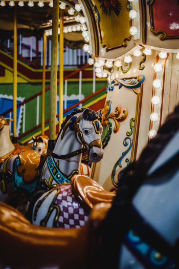 Close-up of carousel in amusement park