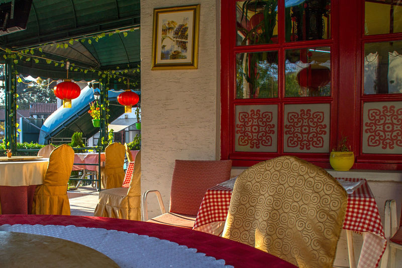 Chinese restaurant interior Chinese Food Architecture Red No People Decoration Table Restaurant Window