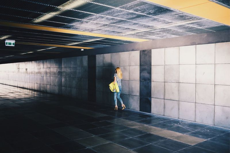 Streetphotography Shadow Contrast Woman Pedestrian Underground Mobility In Mega Cities