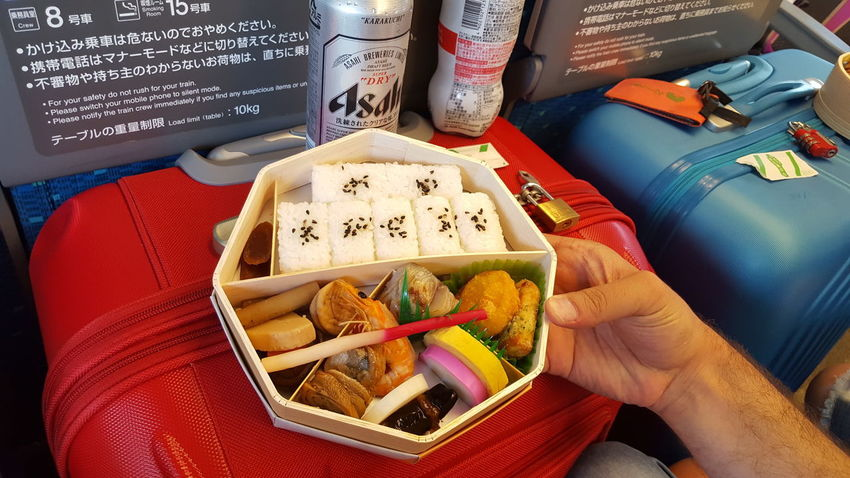 Close-up Food Food And Drink High Angle View Human Hand Indoors  Obento Ready-to-eat Train Food