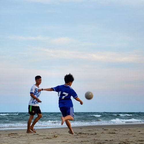 Urban Sports Kids Playing Football Playing Football On The Home Town. On The Beach Phuoc Hai Beach Beach Photography People Photography
