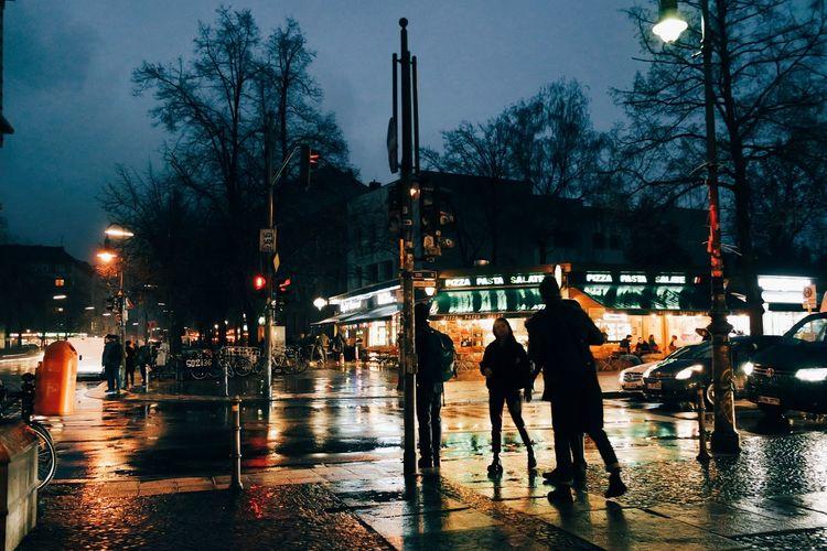 Night Wet Outdoors City People Sky Capture Berlin