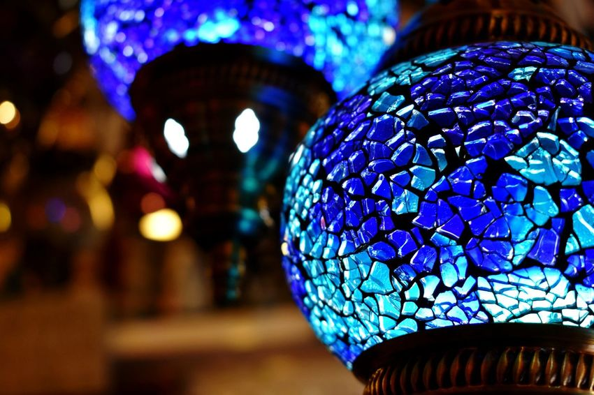 Turkish lights Blue Glass Blue Glasses Contrast Turkish Lights Turkish Lamp Blue Light Chandelier Blue Background Bold Baby Blue Lights Fairy Lights Glass Lights Illuminated Modern Representing Bauble Crystal Ball Crystal Sphere Crystal Glassware
