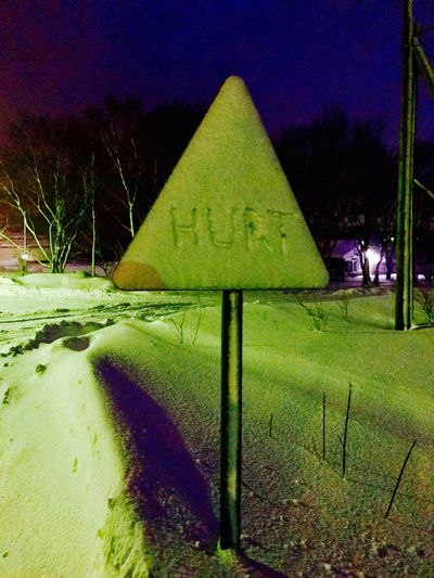 Night No People Outdoors Road Sign Snow