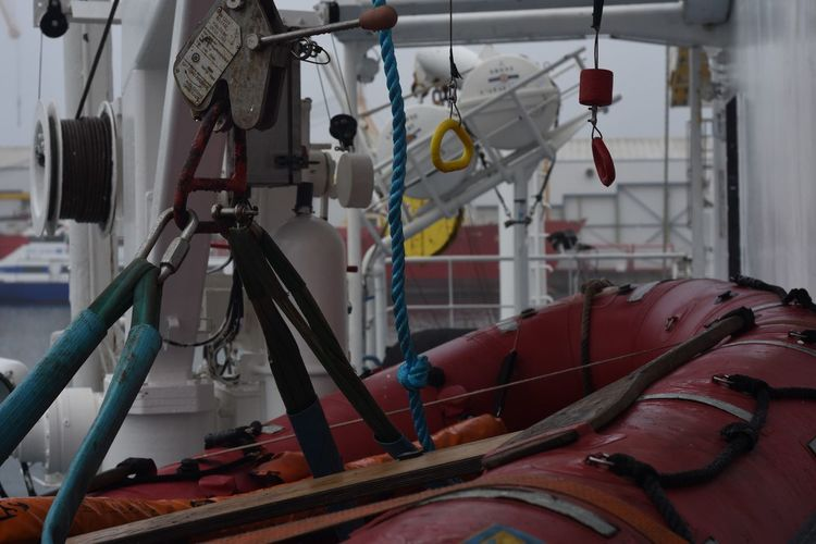 Close-up of lifeboat on ship