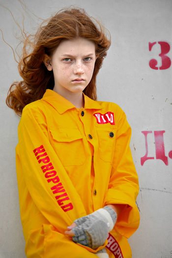 freckles Girl Red Young Red Hair Yellow Clothes Redhair Doll Young Women Portrait Beautiful Woman Yellow Looking At Camera Standing Women Redhead Fashion Dyed Red Hair Dyed Hair Freckle Green Eyes Jacket The Portraitist - 2019 EyeEm Awards My Best Photo