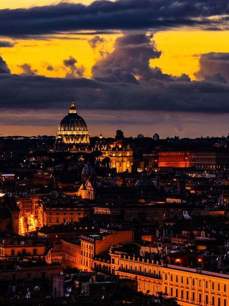 Sunset in Rome. Rome Italy VaticanCity Lights Urban Skyline Illuminated Dome City Life Aerial View Bridge - Man Made Structure Historic Dramatic Sky Moving Around Rome