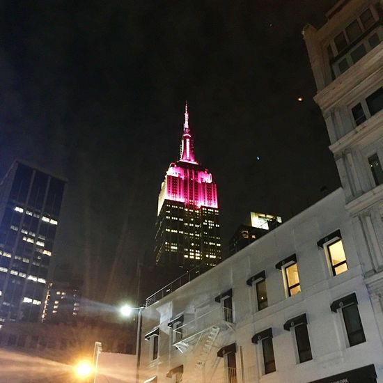 Illuminated Building Exterior Architecture Night Built Structure Low Angle View City Street Light No People Outdoors Travel Destinations Skyscraper Sky Cityscape New York City Empire State Building The Week On EyeEm