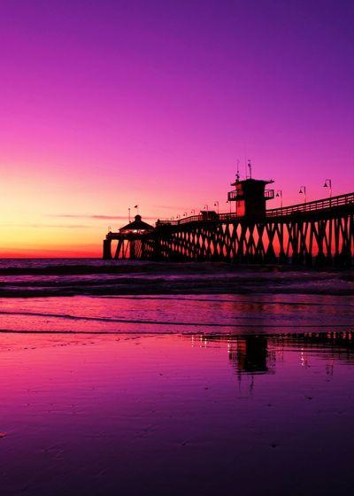 Sunset Water Sky Built Structure Bridge Reflection Connection