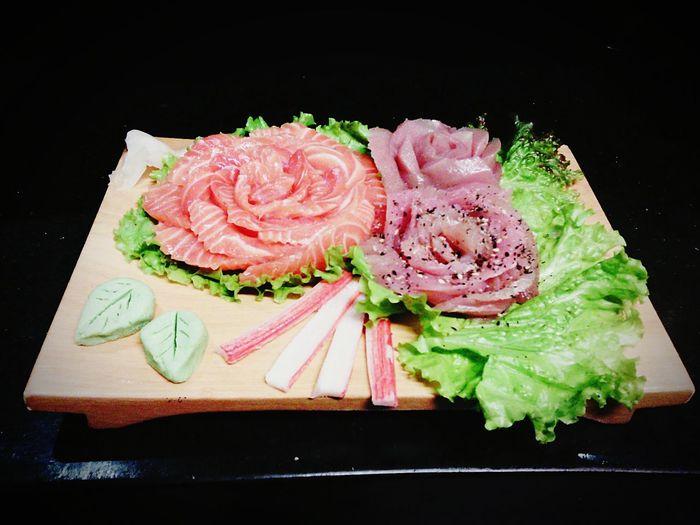 Sushi Salmon Sashimi Maguro Sashimi Toeat Sushi Woman Doso Work