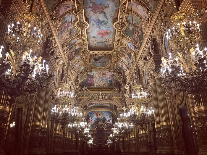 Architecture Travel Destinations No People Illuminated Built Structure Low Angle View Operahouse Indoors  Gold Art Decoration Paris