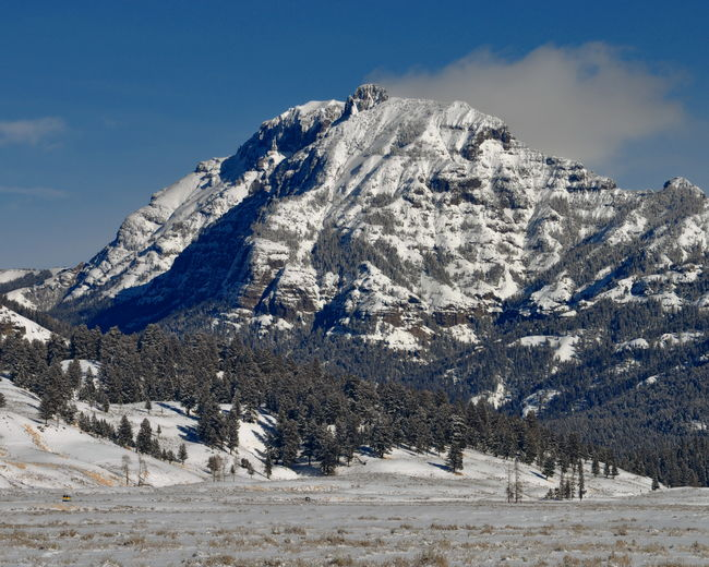 Scenic View Of Abiathar Peak At Yellowstone National Park