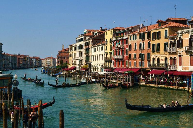 Venice Architecture Canal Clear Sky Water Gondolier Ponte Di Rialto