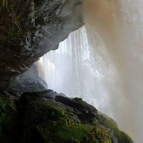 Behind one of the beautiful waterfalls of Canaima National Park. Waterfall Travel Gapyear Nofilter Angelfalls Venezuela Southamerica
