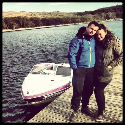 Scotland LochLomond Water Couple Motoboat