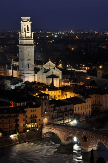 Old Verona in the night, Italy Illuminated Adıge Ancient Church Light Old Town Verona View Architecture Cityspaces Destination Europe Evening Famous Place Italy Landscape Night Ponte Pietra River Water