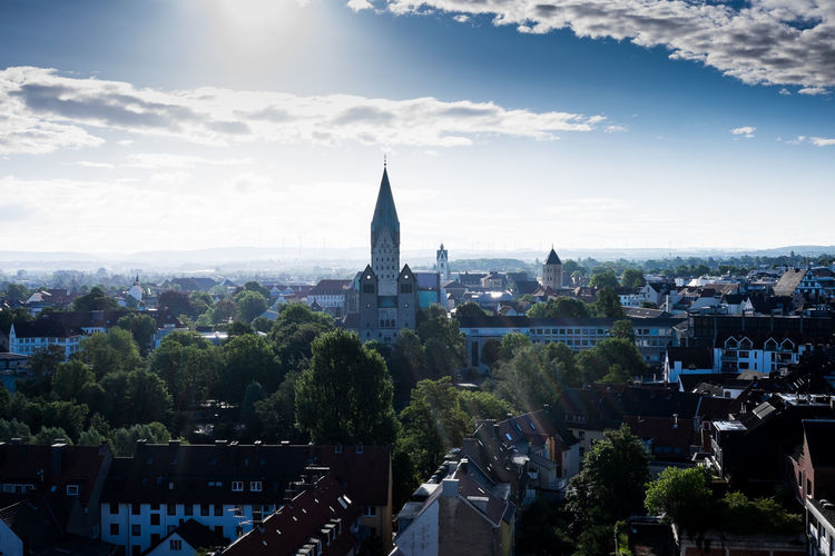 Paderborn Aerial View Architecture Building Exterior Built Structure City Adapted To The City Cityscape Cloud - Sky Crowded Day Development Growth High Angle View Horizon Horizon Over Land Outdoors Residential District Sky Spire  Sunny Tall - High Tower Tree Wide Wide Shot