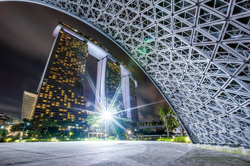 Singapore Marina Bay Sands Night Nightphotography Architecture Built Structure Building Exterior Illuminated Travel Destinations Night Building City Sky Nature