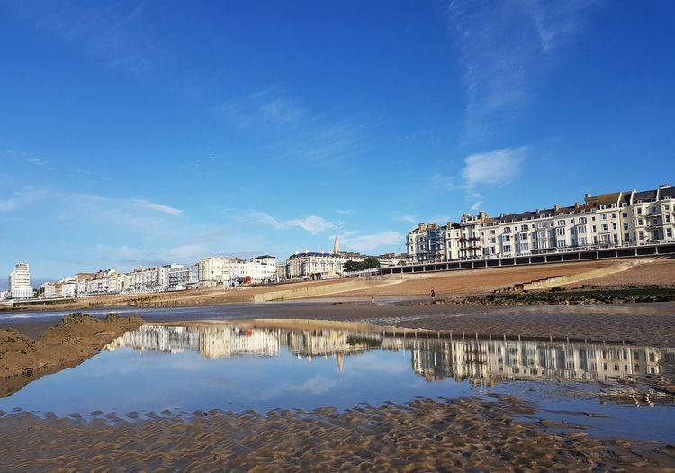 Town Reflection Outdoors Water Sky Blue Beauty In Nature Day seaside Seaside_collection Eye4photography  Eyeemphotography EyeEm Selects EyeEm Best Shots Eyembestshots Eyemgalery Architecture History Architecture Hastings Hastings Promenade Hastings Building