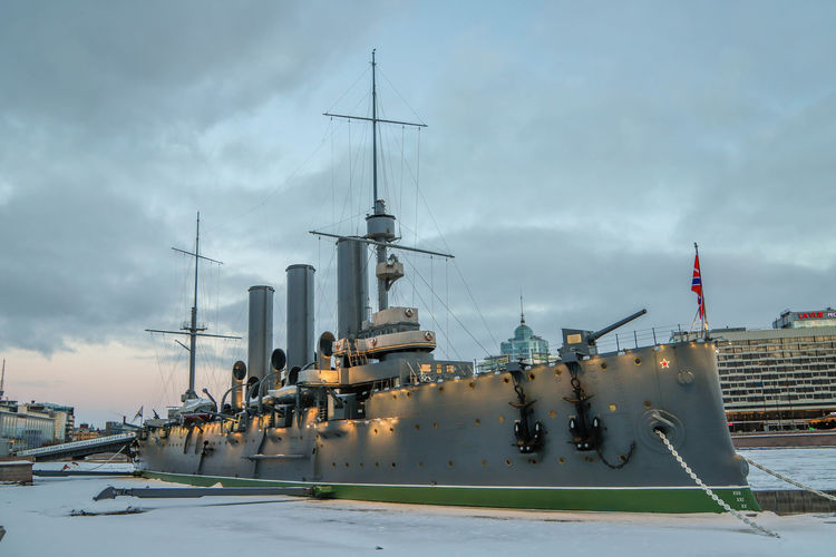 Cruiser Aurora Russia St. Petersburg St. Petersburg, Russia Ship Dawn Sky Cloud - Sky Nautical Vessel Nature Architecture Industry Water Transportation Built Structure Building Exterior No People Mode Of Transportation Technology Outdoors Moored Sailboat Day Business