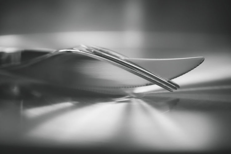 Cutlery Steak Cutlery Silver  Silver Colored Forms Forms And Shapes Creativity Creative Creative Photography Shine Selective Focus Close-up No People Indoors  Still Life Table Publication Two Objects Kitchen Utensil Eating Utensil Art And Craft Studio Shot Beauty In Ordinary Things Food And Drink Black And White