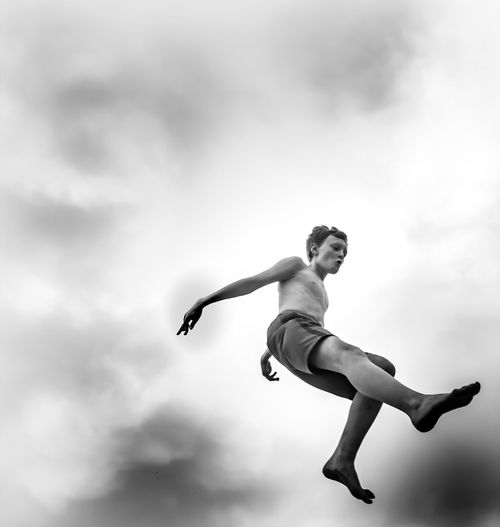 Full Length Cloud - Sky Sky One Person Lifestyles Nature Day Mid-air Jumping Child Outdoors A New Perspective On Life