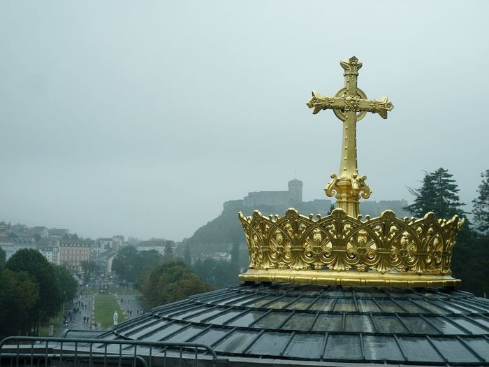 Lourdes Golden Cross Architecture Day Sculpture Built Structure Spirituality