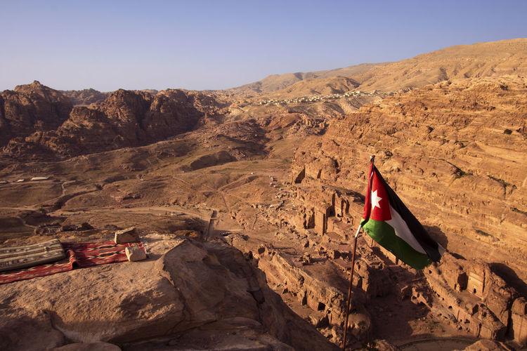 The jordan flag in the sacrifice altar petra