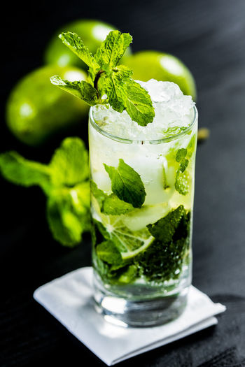 Close-Up Of Mojito On Table