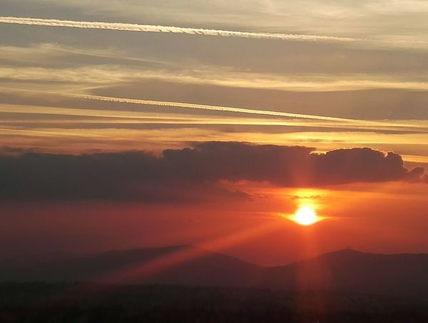 Taking Photos colour of life Sunset Mountain Yellow Fog Sunlight Sun Gold Colored Red Summer Awe Sky Only Atmospheric Mood Heaven Dramatic Sky Cloudscape Calm Moody Sky
