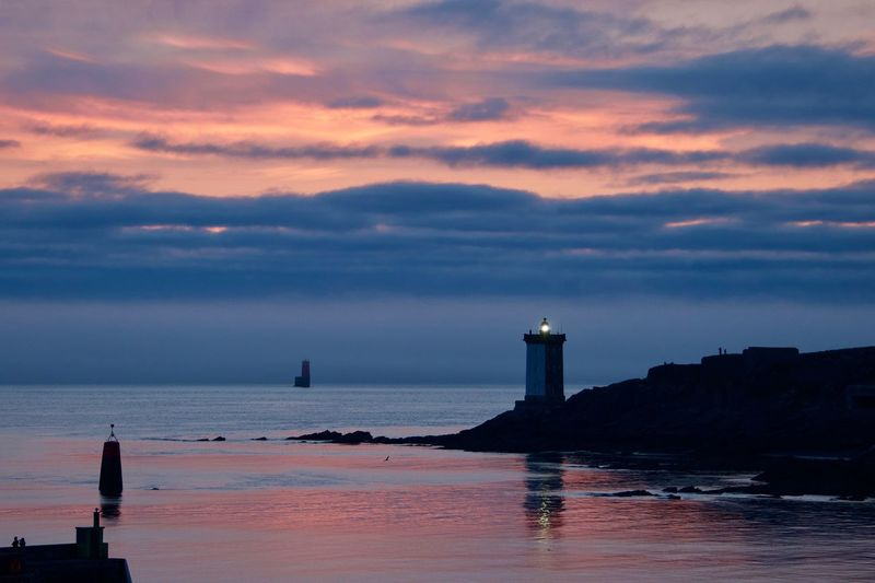 Kermorvan Brittany Reflection Architecture Beauty In Nature Building Building Exterior Built Structure Cloud - Sky Horizon Over Water Land Le Conquet Lighthouse Nature Outdoors Pink Color Scenics - Nature Sea Sky Sunset Tower Tranquil Scene Tranquility Water