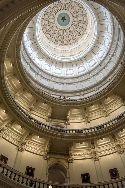 Indoors Texas Capitol, Austin. Austin Texas USA Texas Capitol Capitol Architecture Built Structure Indoors  Ornate Architectural Feature History Travel Destinations Pattern Low Angle View No People Day Downtown Austin Politics And Government The Architect - 2017 EyeEm Awards My Best Travel Photo