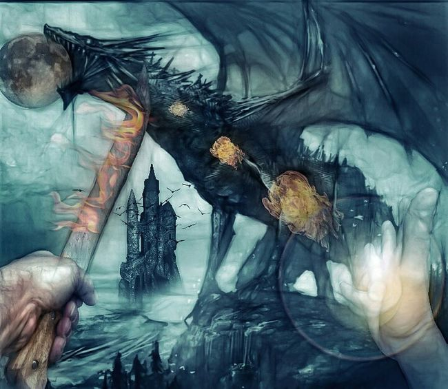 Eater of my home. Fantasy Edits Fairytales & Dreams Painted Pictures Creative Power Dark Fairytale Twisted Dream Dragon Learning From Nature No Edit No Fun Fantasy fighting dragons