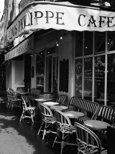 Chairs and tables at cafe