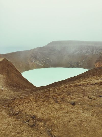 Crater Lake Swimming Foggy Iceland Highlands Iceland216