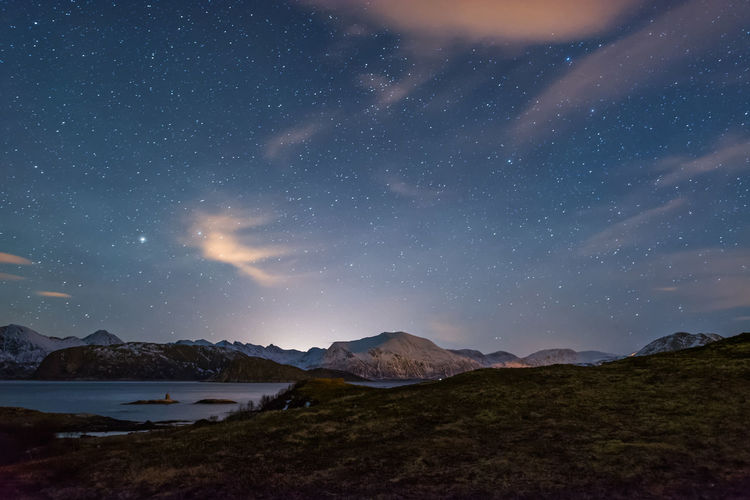 Norwegian fjords at night Astronomy Astrophotography Clouds Fjord Mountains Night Night Photography Norway Scandinavia Snow Stars Ice Age Water Long Exposure Landscapes Overnight Success Lost In The Landscape