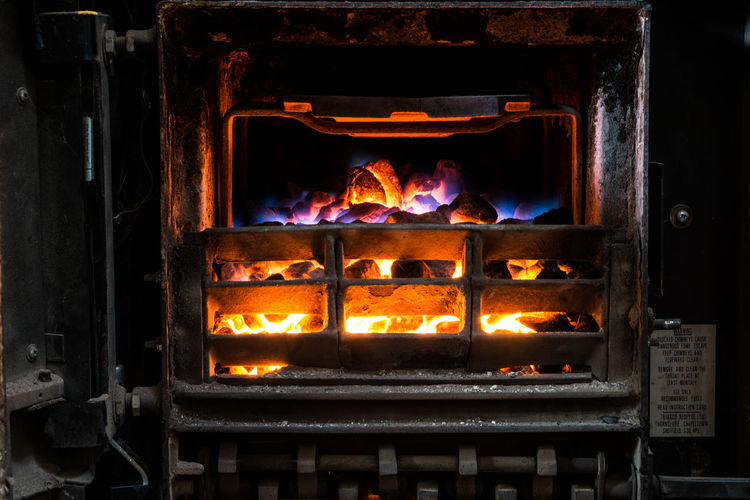 Close-up of wood burning stove